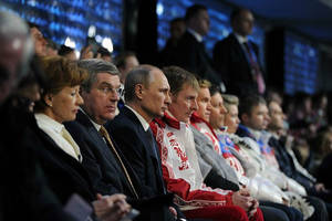 vladimir putin won the olympics, but he's not smiling